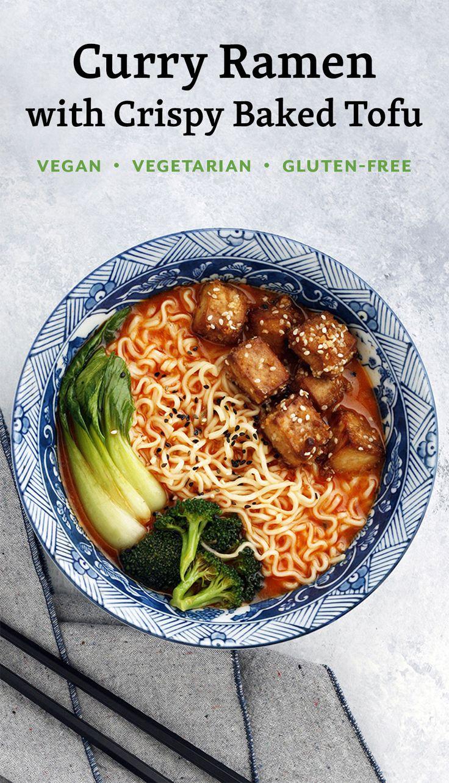 Curry Ramen with Crispy Baked Tofu