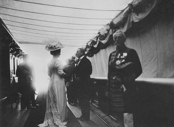 Alexandra Feodorovna, Empress of Russia on the deck of the Russian Imperial Yacht Standart during the Cowes Regatta, 1909