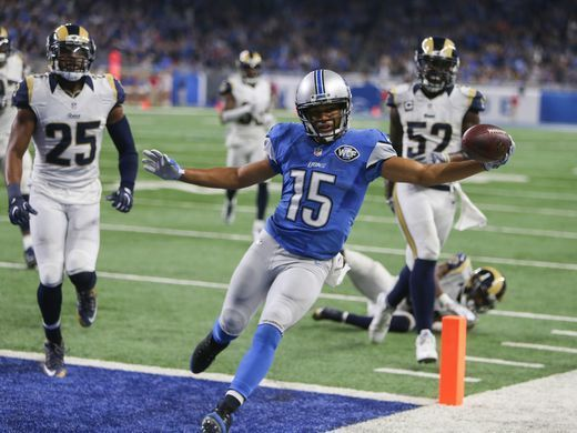 Rams vs. Lions:     October 16, 2016  -  31-28, Lions  -    Lions receiver Golden Tate scores a touchdown against the Los Angeles Rams during the second half Sunday, Oct. 16, 2016 at Ford Field in Detroit.  Kirthmon F. Dozier, DFP