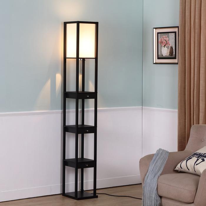 Havana Brown Maxwell Drawer Floor Lamp Tall Freestanding Shelf Light Soft Ambience Standing Lamp Led Floor Lamp Floor Lamp