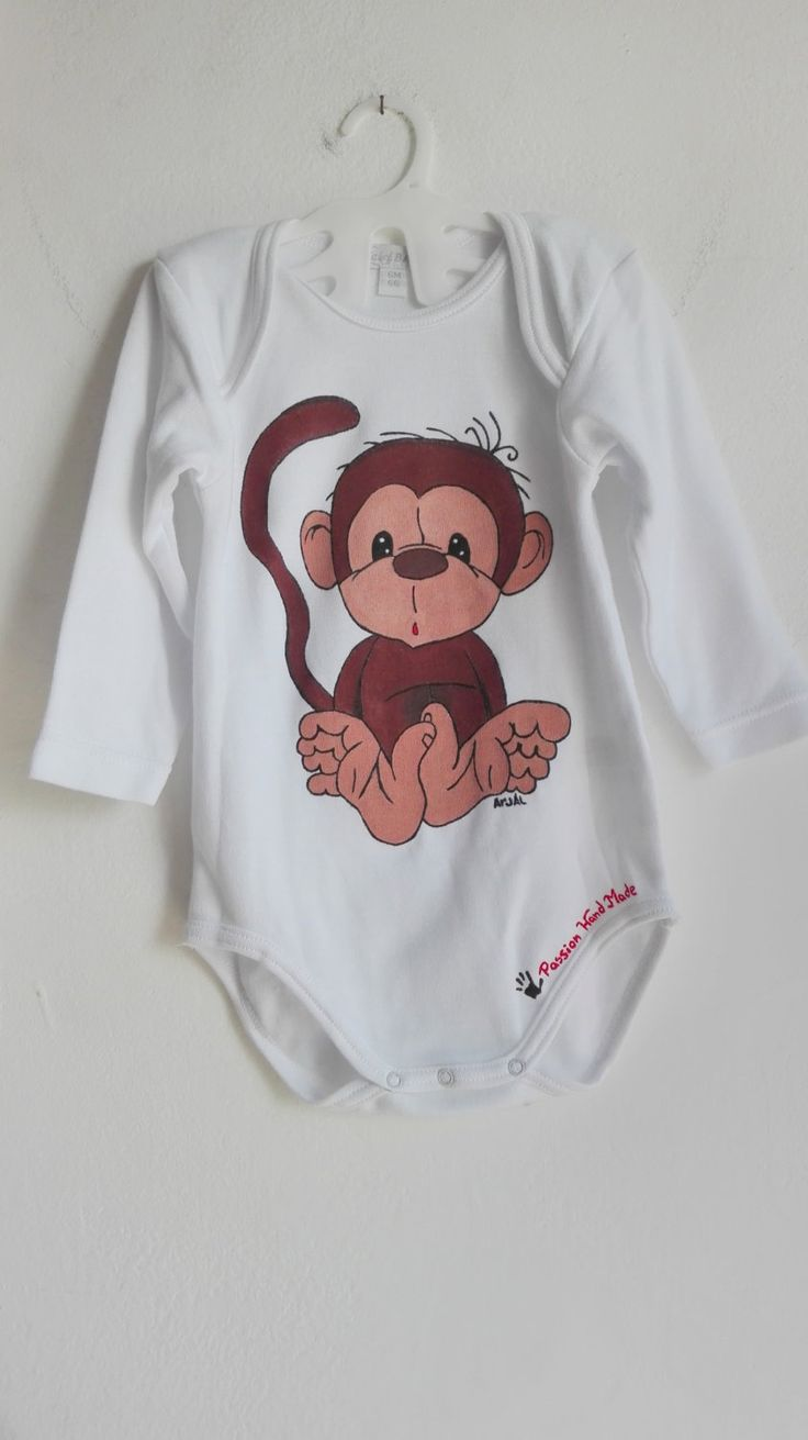 Monkey baby body long sleeve hand painted 100% cotton body shirt sleeve pelele boy girl scimmia custom personalized di PassionHandMade14 su Etsy