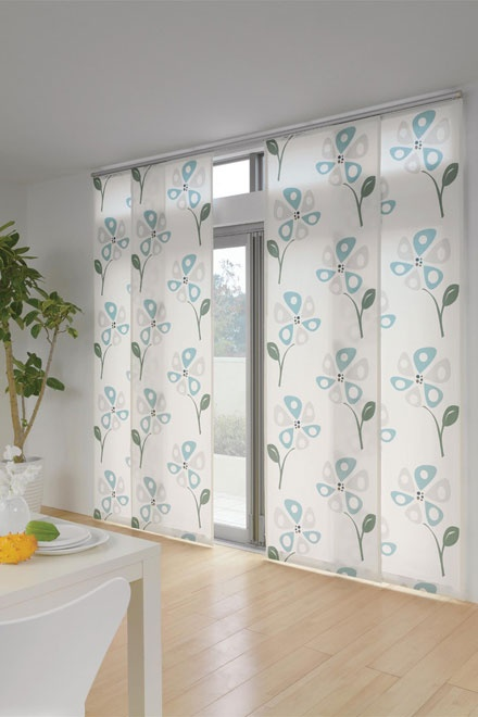 panel curtain -like the idea for the sliding glass door, but not this pattern