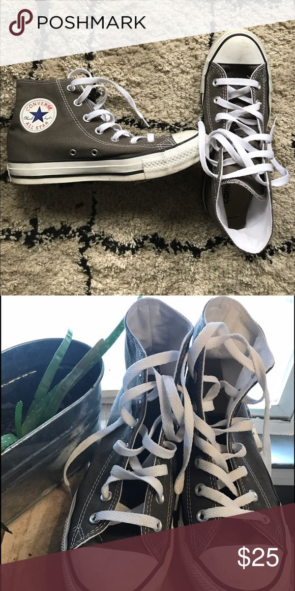 Grey High Top Converse Barley worn, dark grey chucks. Converse Shoes Sneakers