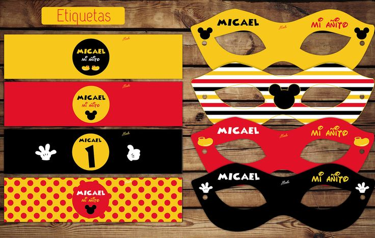 #Mickey #Disney  #Cumple #etiquetas para botellas #antifaces #kitimprimible #amarillo #antifaz