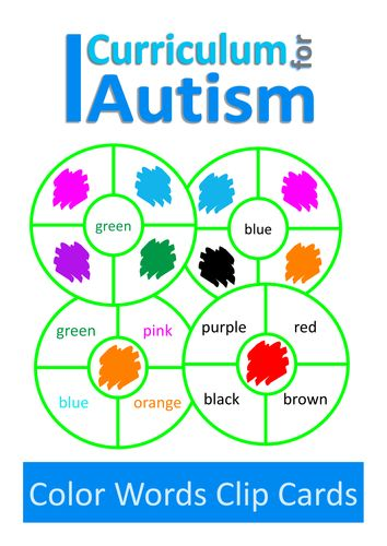 Colour Words Clip Cards, Autism, Special Education