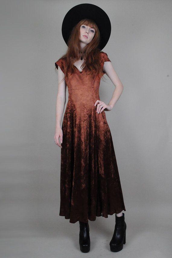 Vtg 90s Copper Crushed Velvet Goth Grunge Backless Evening Midi Dress S/M