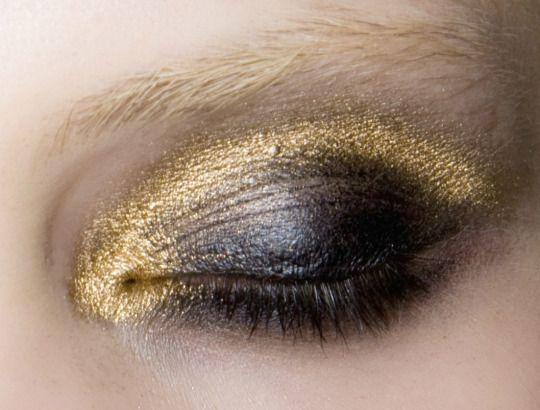 Gold and black smoky eye.