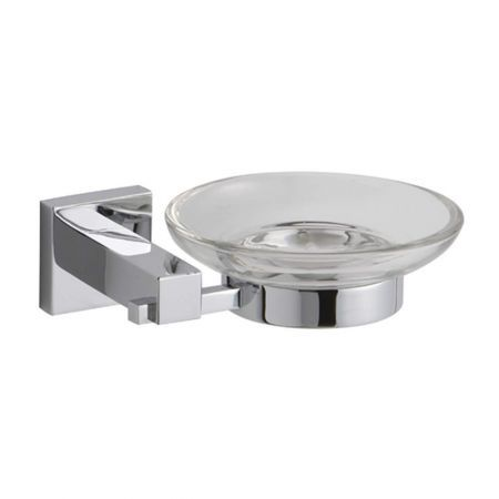 square chrome and glass bathroom soap dish holder 500