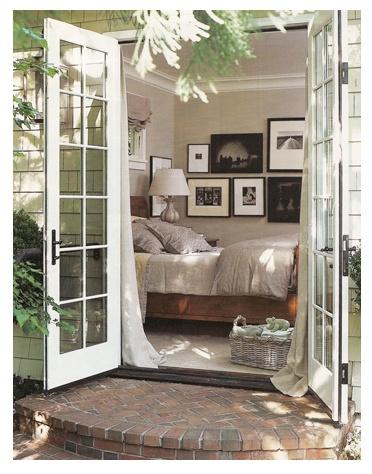 french doors, patio, bedroom