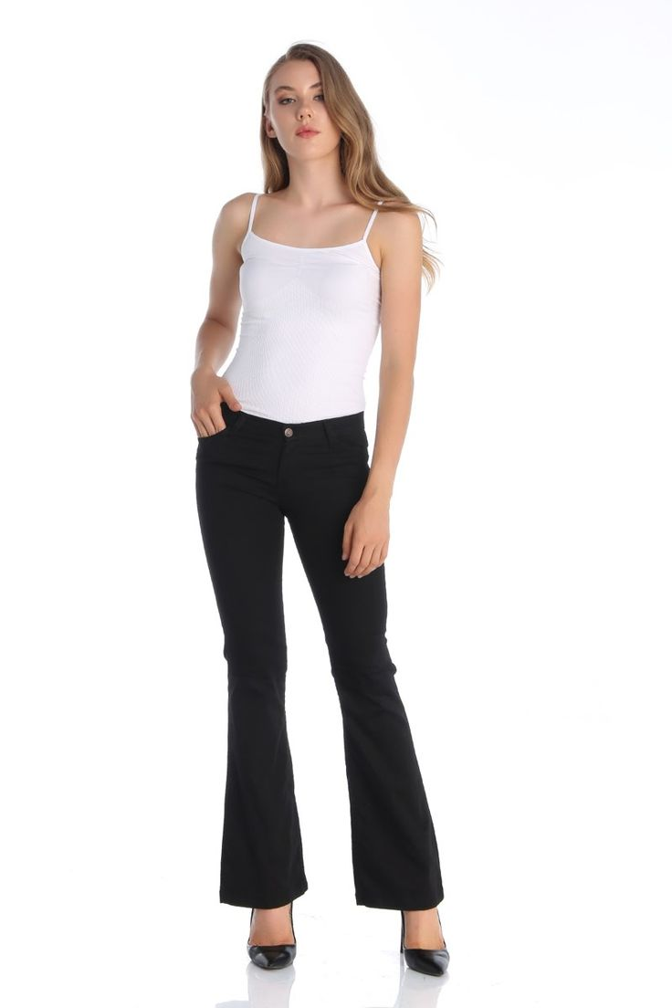 İspanyol Paça Pantolon Siyah   Rays Giyim