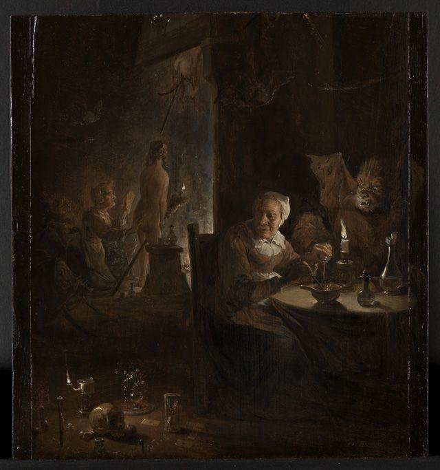 Vertrek naar de sabbat. David Teniers II, 1645. Een oude vrouw zit in een donkere keuken bij het schijnsel van een kaars. Deze vrouw met witte kap komt op meer schilderen van Teniers voor. Vergezeld door de duivel bereidt de oude heks een tovermiddel. Over haar schouder bekijkt ze het tableau van zwarte magie op de grond. Op de achtergrond vliegen jonge, naakte heksen door de schoorsteen.