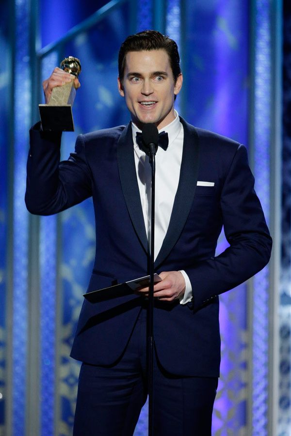 In this handout photo provided by NBCUniversal, Matt Bomer, Winner of Best Supporting Actor – Series/Mini-Series/TV Movie for 'The Normal Heart', speaks onstage during the 72nd Annual Golden Globe Awards at The Beverly Hilton Hotel on January 11, 2015 in Beverly Hills, California. (Photo by Paul Drinkwater/NBCUniversal via Getty Images)