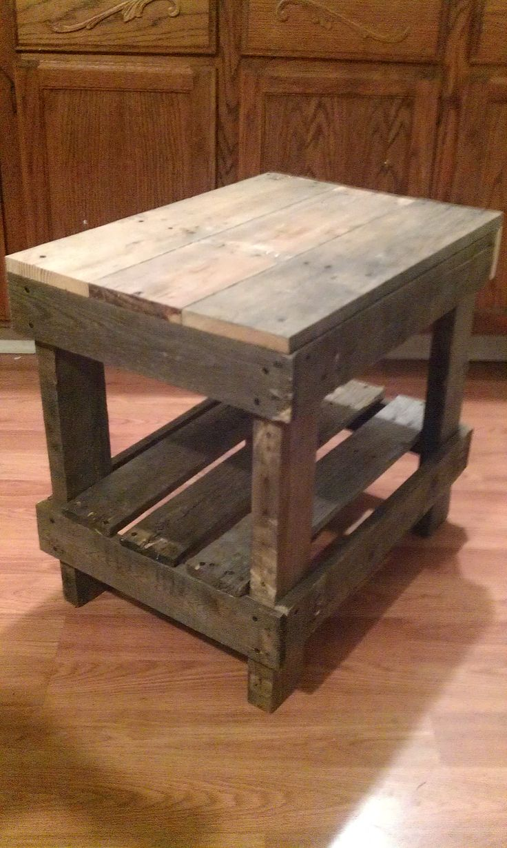 pallet wood end table pallet diy pinterest the end. Black Bedroom Furniture Sets. Home Design Ideas