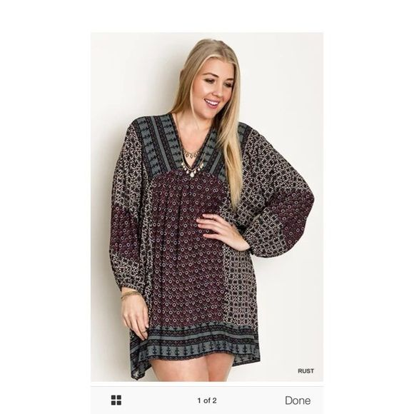 Umgee plus sized boutique dress Show stopper, perfect for the holiday season. Wear as a dress or throw some leggings and boots on for a more casual look. Please do not ask to trade because I won't. This brand tends to run big so can fit a size 14-18/20. Umgee Dresses