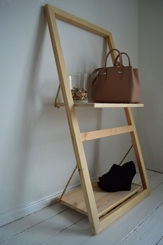 Wooden Ladder Shelf Storage Unit Wall Organizer by PobiShop