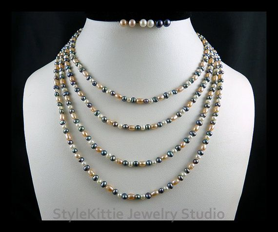 2 Endless Cultured Pearl Necklaces 36 10k by StyleKittieJewelry