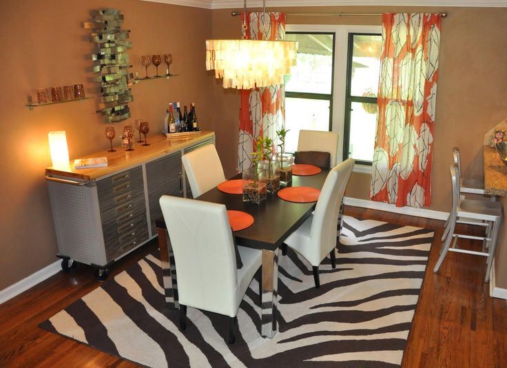 Dining Room Orange Floral Fabric Curtain With White Leather Chair Also Black And Zebra Rug Stainless Stell Table Besides