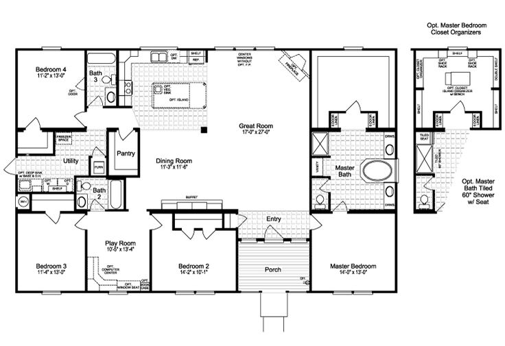 The Casa Grande | 4 Bedrooms, 3 Baths, 2,520 Sq. Ft. | by Palm Harbor is a Facebook and Pinterest favorite.  And one look at this open living area and huge closet tell you why! #manufacturedhome