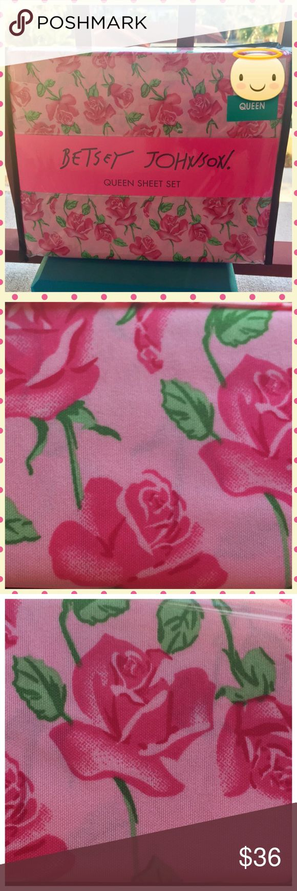 Betsey Johnson Pink Floral Vine Queen Sheet Set Betsey Johnson Pink Floral Vine Queen Sheet Set Betsey Johnson Other