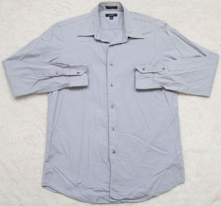 Alfani Stretch Dress Shirt Medium Long Sleeve Button Up Gray Cotton Lycra Mens #Alfani #dressshirt