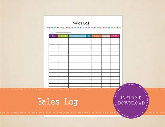 Sales Log  Business Sales Tracker  Printable by MBucherConsulting