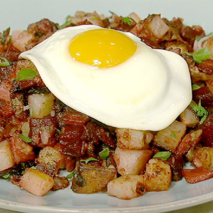 the chew | Recipe | Mario Batali's Red Flannel Hash With Fried Eggs