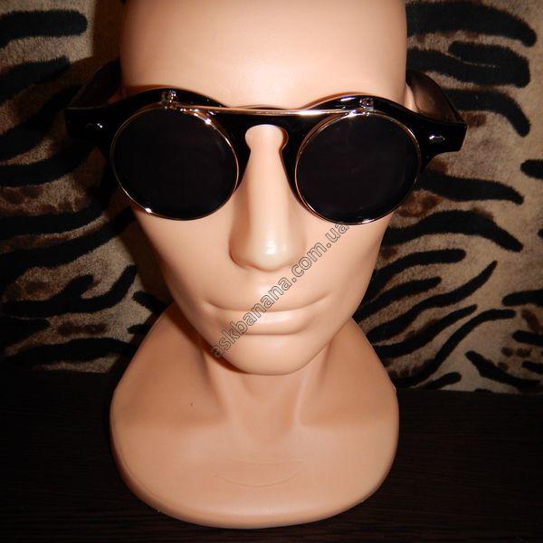 Ретро двойные очки, круглые линзы и металлическая рамка. Чёрные с золотой рамкой: цена, описание, купить - askbanana.com.ua - Он-лайн магазин АскБанана, здесь можно купить солнцезащитные и имиджевые очки, флеш тату, косметику, кисти для макияжа, Apple iPhone чехлы, бижутерию, браслеты, спорт товары, подсветку колес, гаджеты, подарки с доставкой по всей Украине