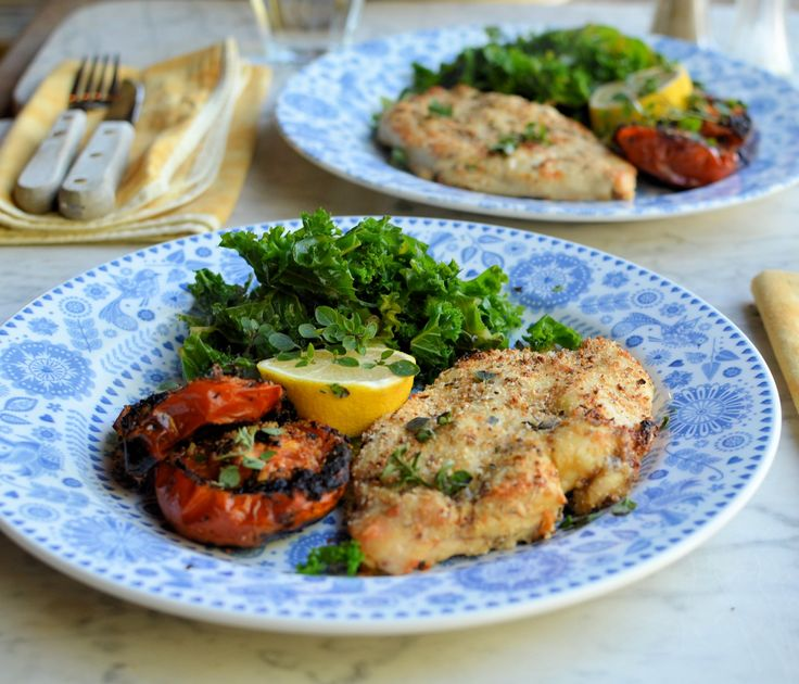 Tasty Low-Calorie 5:2 Diet Recipe: Garlic, Herb and Parmesan Crusted Chicken Schnitzels. Great for a fast day, tasted really indulgent. Delicious!