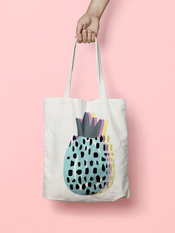 Pineapple Tote Bag  Canvas Tote Bag Pine Apple  by totebagdodobob Totes are that universal product that everyone needs and uses. A book bag, a grocery bag, or just somewhere to throw in all of those little everyday items.
