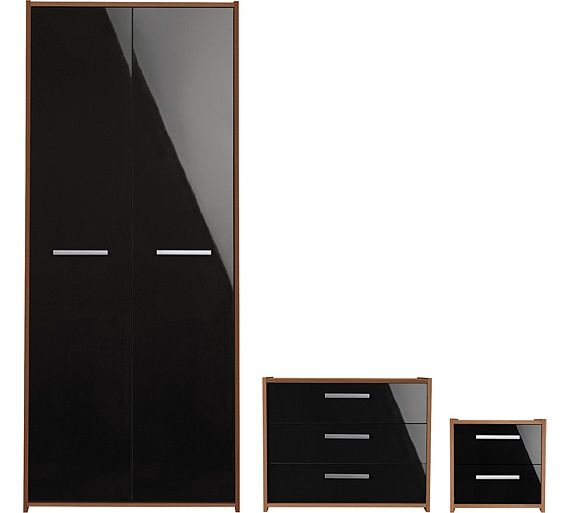Buy HOME New Sywell 3Pc 2Dr Wardrobe Package - White&Black Gloss at Argos.co.uk, visit Argos.co.uk to shop online for Bedroom suites and packages, Bedroom furniture, Home and garden