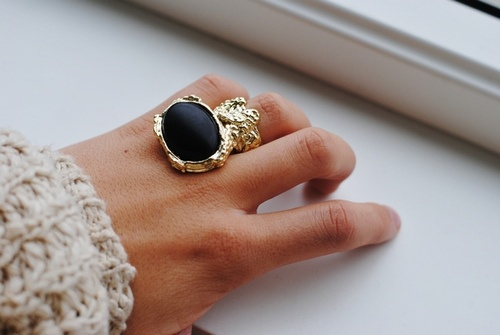 Statement Rings, Fashion, Black Gold Rings, Blackgold, Yves Saint Laurent, Jewelry, Accessories, Cozy Sweaters, Knits Sweaters