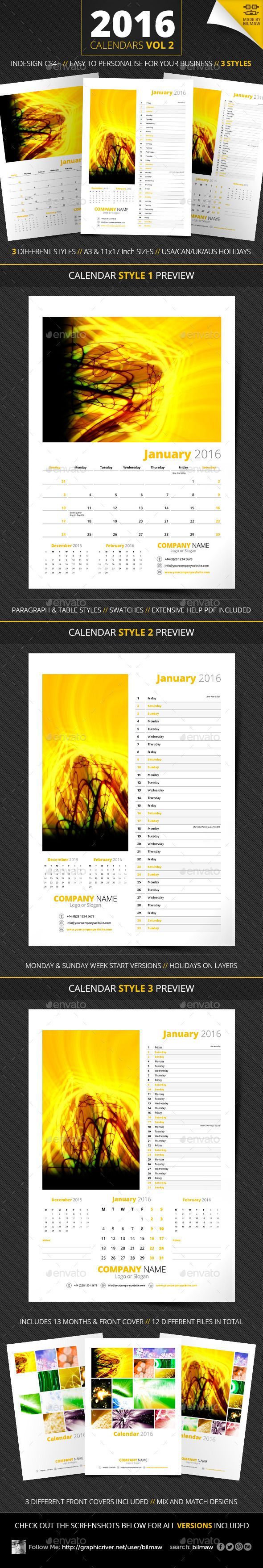 Calendars Vol 2. Templates includes 3 modern calendar designs, in all the sizes and formats you could need.