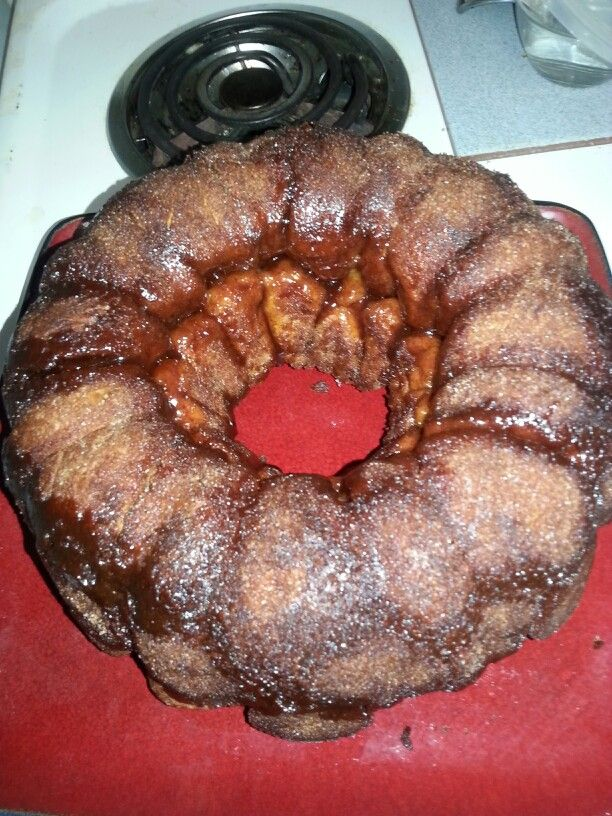 Monkey bread:  3 cans butter biscuits cut in qtrs till in balls. Dip in melted butter and roll in cinnamon/sugar mix   bake in bunt pan 350  35-45 min