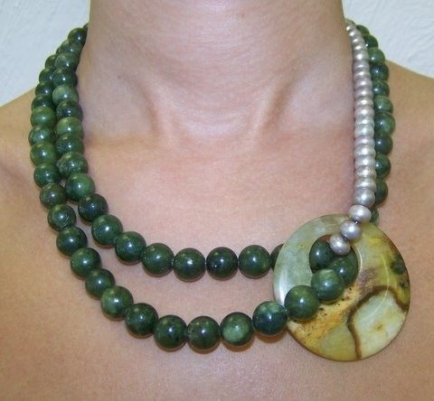 Jade Pearl Necklace Dalia Koss