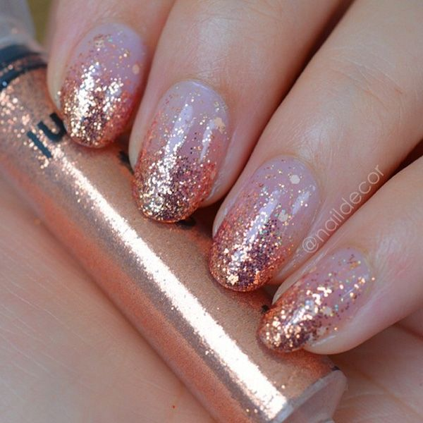 Rose Gold Nail Glitter: 50 Oval Nail Art Ideas