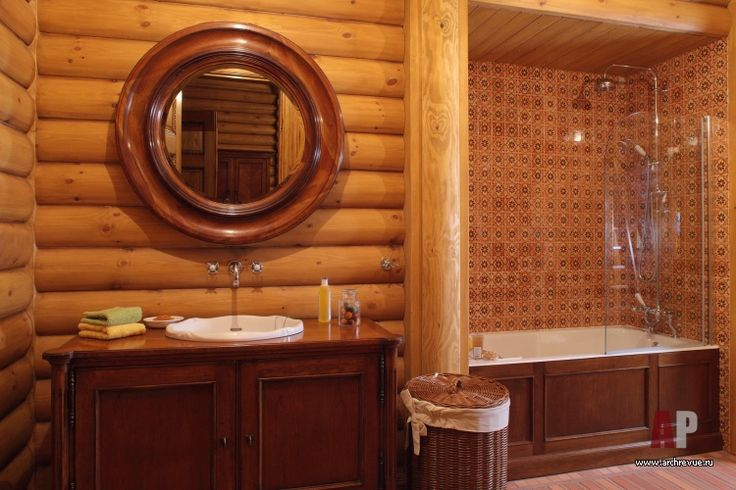 Фото интерьера санузла деревянного дома в английском стиле