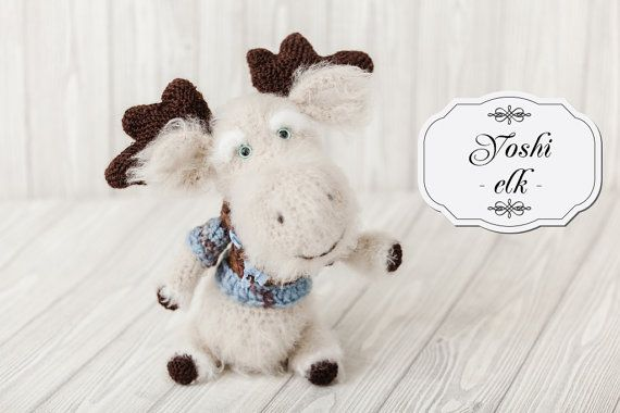 This horned elk named Yoshi. At Yoshi very interesting character. He was happy to go to walk around the world or in the woods. Stuffed toys, it is possible to play or to de... #etsy #crochet #animal #knit #toy #handmade #gift