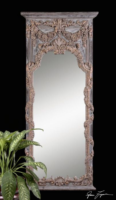 """Adalina Ornate Classical Mirror. Extra long 68"""" with elaborate Old World romantic frame."""