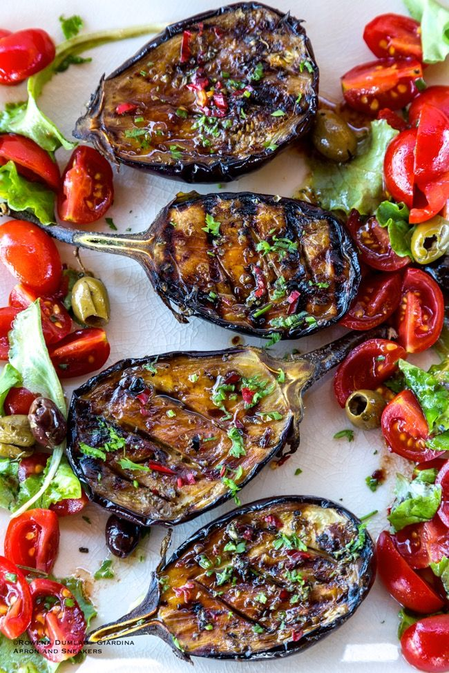 Apron and Sneakers - Grilled Spicy Mediterranean Eggplant with Tomato Salad