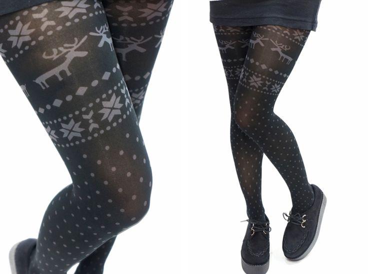 Deer Snowflake Pattern Holiday Christmas Tights /Leggings