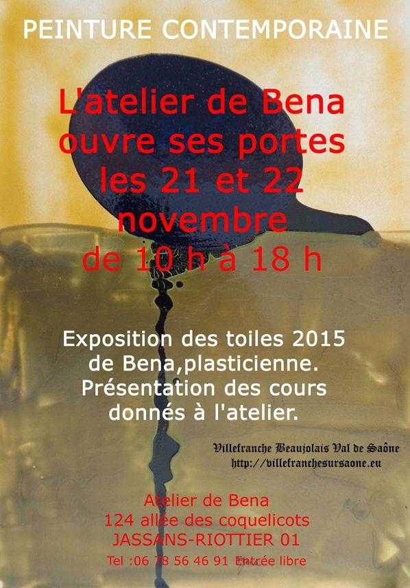 Prochainement à #JassansRiottier: Jassans Riottier : L'atelier de Bena ouvre ses portes les 21 et 22 novembre à JASSANS-RIOTTIER. www.bena.fr  toutes les infos en 1 clic sur : http://villefranchesursaone.eu/Spectaclesalafficheavillefranche.html