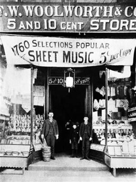 """On February 22, 1879, F.W. Woolworth opens the first  """"The Great Five Cent Store"""" in Utica, NY. It failed in six months, but the second store he opened in June of the same year seemed to catch on."""