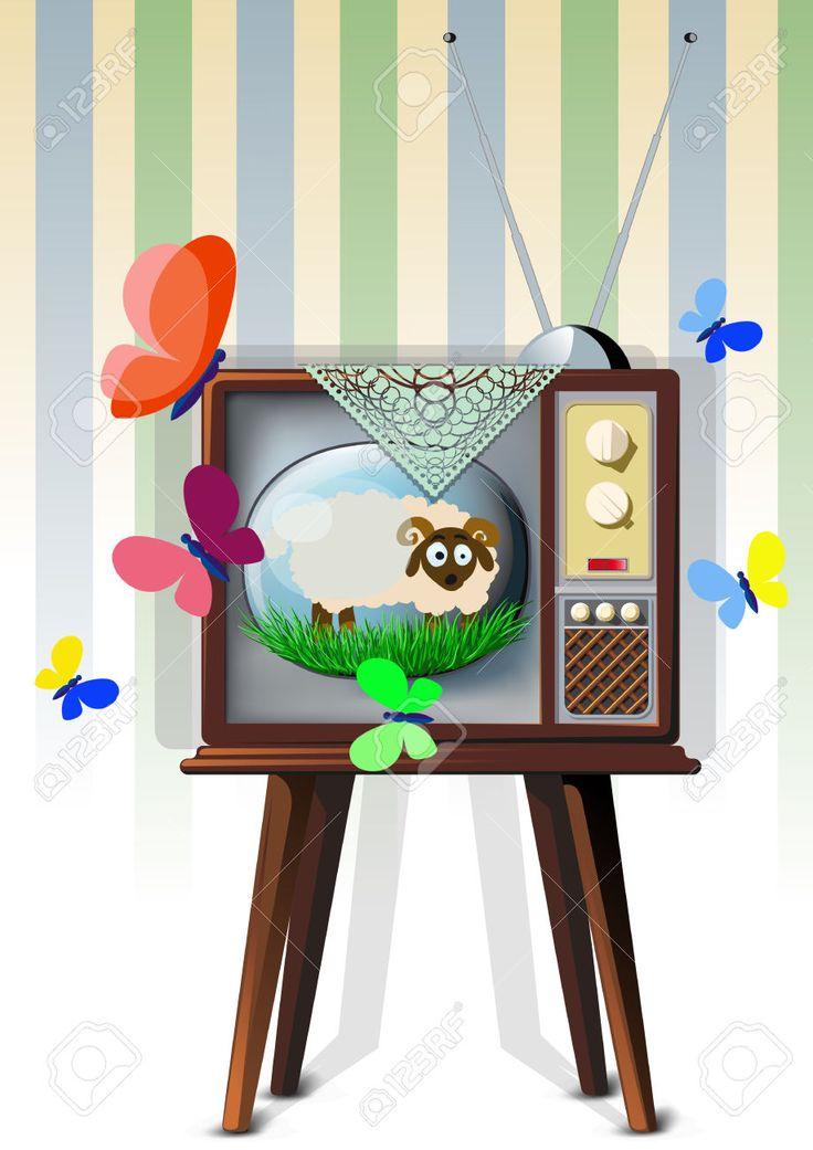 Tv Con Cordero Ilustraciones Vectoriales, Clip Art Vectorizado Libre De Derechos. Pic 34191166.