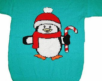 """Childrens & Adults Christmas Penguin Jumper / Sweater Knitting Pattern #5 PDF Instant Download 24 - 40"""" Chest"""