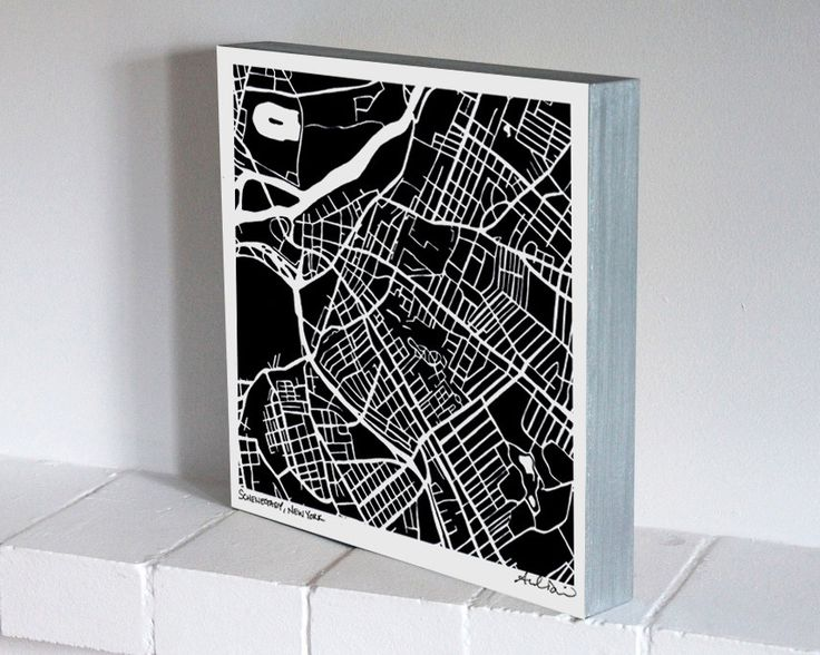 Schenectady New York Woodblock-Mounted Map Print