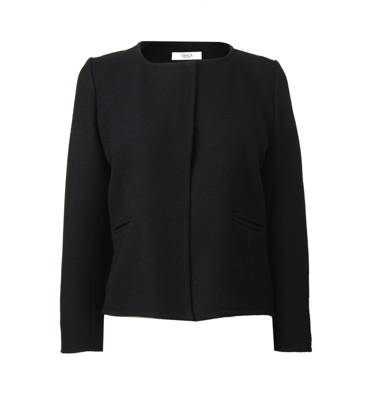 FLEUR B. FOUNDATION JACKET-  Black. Textured wool jacket with gold buttons at cuffs. Made to be worn open. www.fleurb.co.uk
