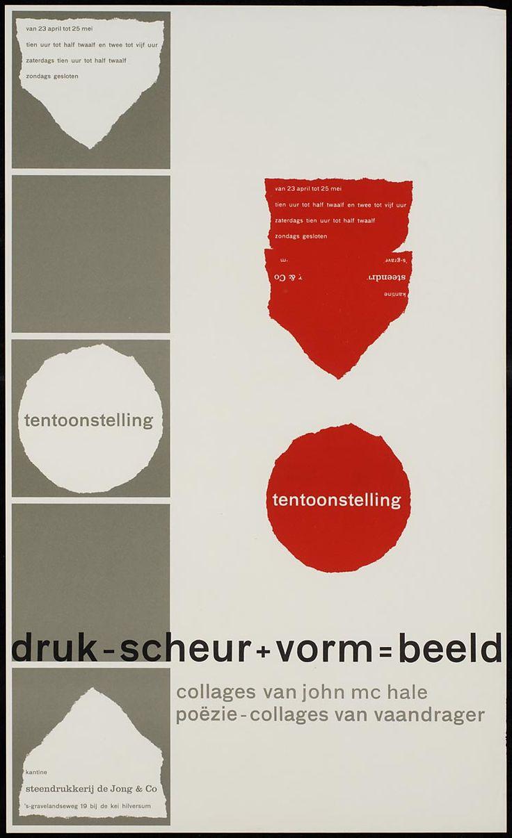 Pieter Brattinga, kantine steendrukkerij de Jong & Co Hilversum 23 april tot 25 mei druk-scheur+vorm=beeld collages van john mc hale poëzie-collages van vaandrager, 1960