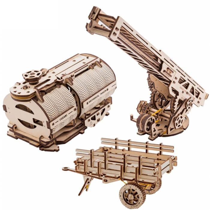 Mechanisch houten bouwpakket pick-up truck uitbreidingsset