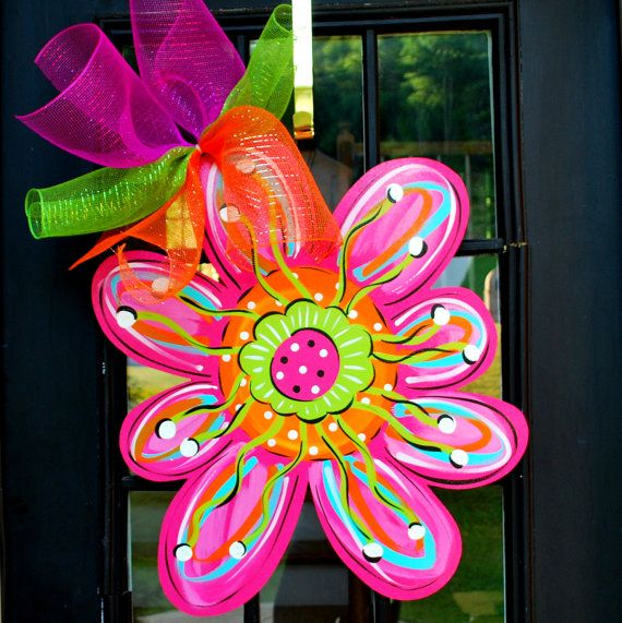 Summer Door Hanger: Flower Door Hanger, Door Decoration, Summer Wreath, Whimsical Door Decor on Etsy, $45.00