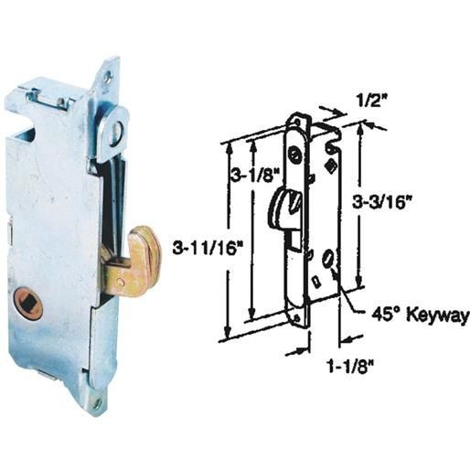 Prime Line Prod. Patio Door Mortise Lock 15410-F Unit: Each, Silver steel